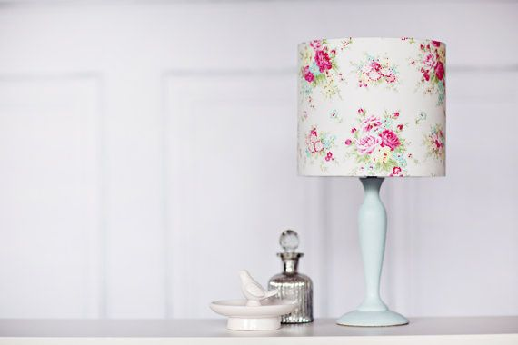 Floral lampshade White lampshade Pink lamp by ShadowbrightLamps