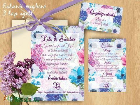 Esküvői meghívó Lila Orgona Virágos, Nyári Virágos Esküvői lap, Orgona virágos meghívó, Lila Esküvő, Esküvő, Naptár, képeslap, album, Meghívó, ültetőkártya, köszönőajándék, Képeslap, levélpapír, Meska