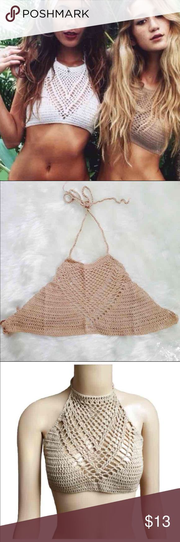 Crochet knit halter top Boho Super in! Use as festival top, bikini top or cute too with an oversized plaid shirt. I used it once! No padding size a/b cups better. WILL MODEL AGAIN IF ASKED Tops Crop Tops