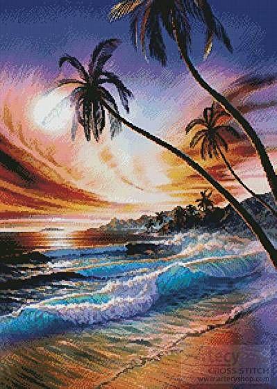 Tropical Beach cross stitch pattern.