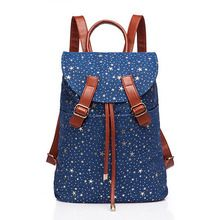 Free Shipping Korean Style Star Print Women Backpacks Fashion Kids and students School Bags Retro Style Travel Backpack(China (Mainland))