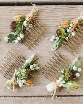 "Check out this ""hair flair"" that bride Julie and her 'maids fixed into their updos. Get more inspiration online from this garden party affair set in Northern California."