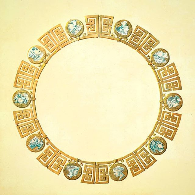 Design of a Mellerio dits Meller necklace circa 1860 ✌🚨✌🚨✌🚨 in yellow gold & ten cameos for a jewel with a Greek frieze 🤔😋🤔 Too much retro? Or maybe modern? Or simply timeless? 🔙🔛🔜 I am sure that Hemmerle or Giampiero Bodino could review this piece perfectly 😍 #Mellerio #MellerioDitsMeller #circa1860 #ReviewJewelry  __________    Diseño de collar de Mellerio dits Mellier circa 1860 👌🚨👌🚨👌🚨 en oro amarillo y diez camafeos para una joya con una greca clásica 🤔😉🤔 Demasiado…