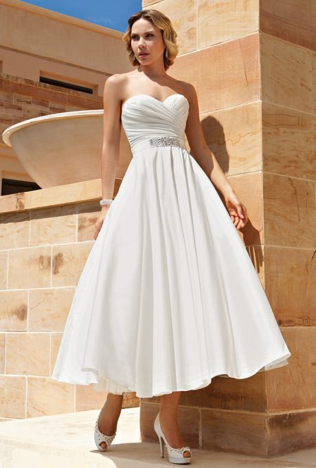 Demetrios - Destination Romance. Taffeta, strapless, A-line cocktail length dress with a sweetheart neckline, ruched, wrap bodice, and belt with jeweled applique on waist.
