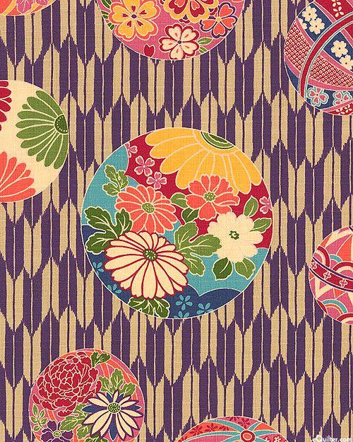 Japanese Import - Flower Bubbles - Grape Purple - COTTON DOBBY