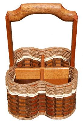 Wine Cellar Basket-This basket is great for carrying your wine from the cellar or coolers to the table. It also makes a conversation piece during entertaining! Holds 4 bottles of wine. Can also hold two small wine glasses in one compartment, so if you wanted to take your wine outside it fits all in one basket.