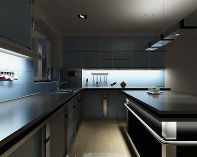 led under cabinet and under countertop - Led Kitchen Lighting Ideas