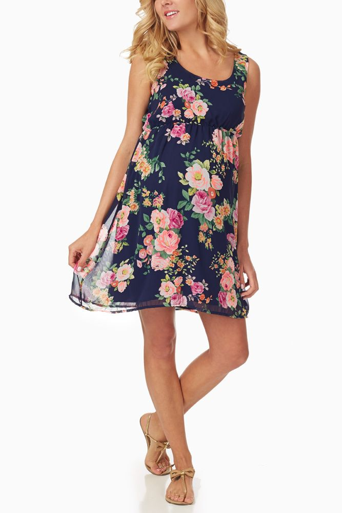 Navy Blue Floral Printed Maternity Dress #maternity #fashion