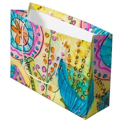 Quirky Garden Party Large Floral Gift Bag - floral style flower flowers stylish diy personalize