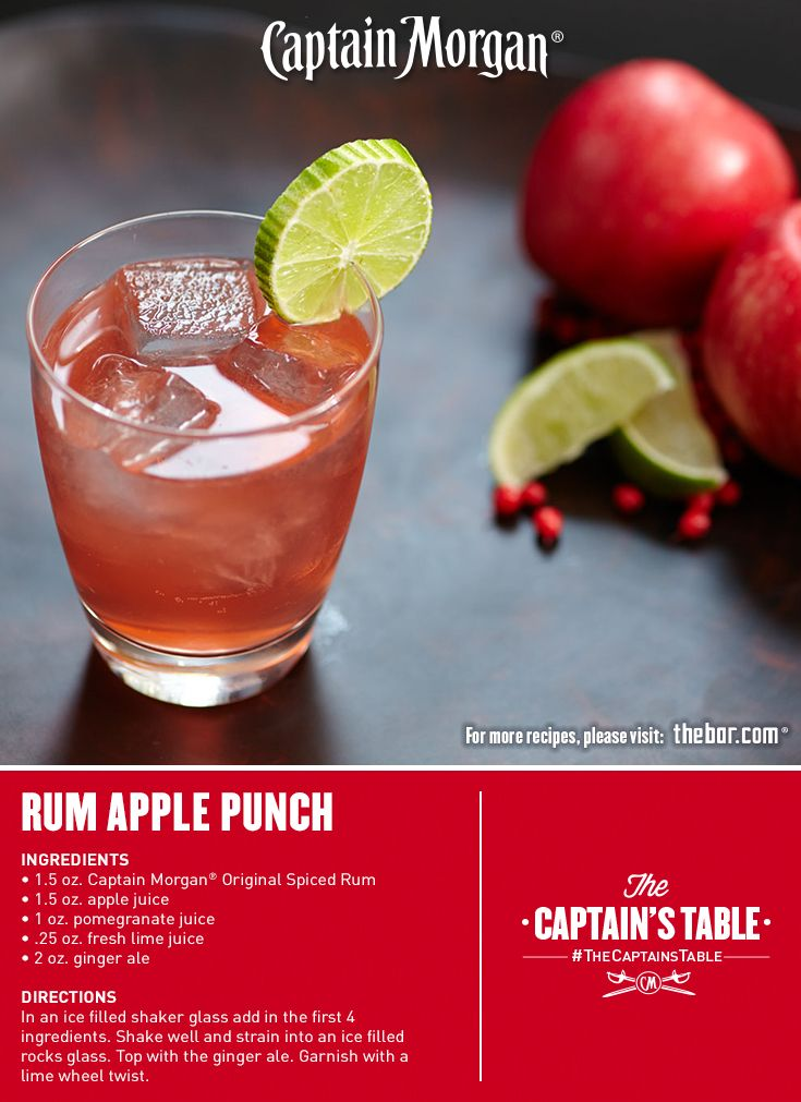 Apple, pomegranate and ginger. So many reasons to love this cocktail! #Captain #Morgan #easy #punch #drink #recipe #CaptainsTable
