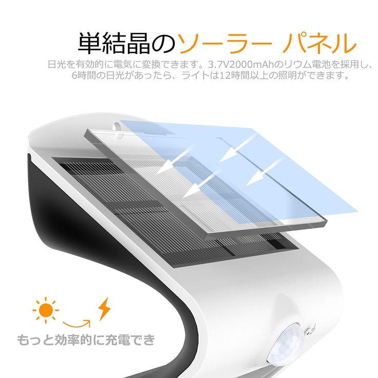 Amazon | HonestEast ソーラーライト 人感センサー付き 屋外照明/防犯照明などに対応 夜間自動点灯 | ブラケットライト