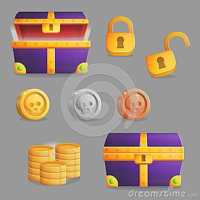 Finding a treasure chest set of game icons
