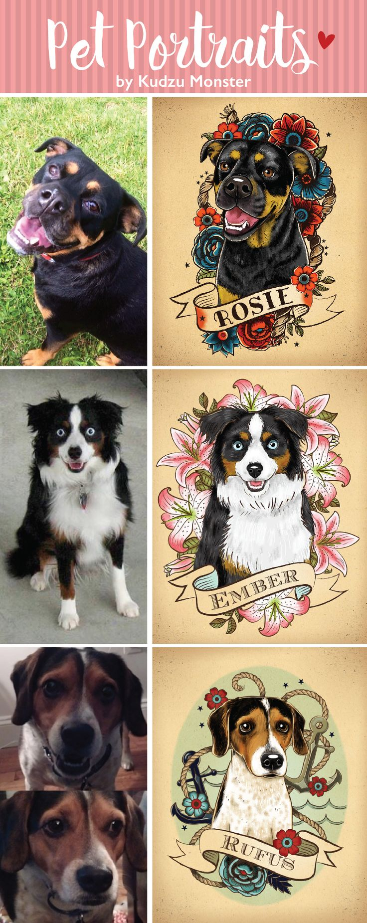 Custom Tattoo style pet portraits by Kudzu Monster.  Dogs, cats, and more.  A great gift for the animal lover in your life.  Original pet art