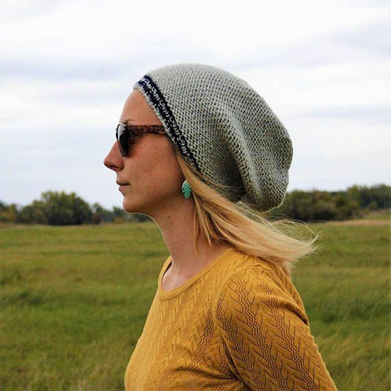 Gray Blue Striped Slouchy Beanie Hat / Cute Hand Knit Fall