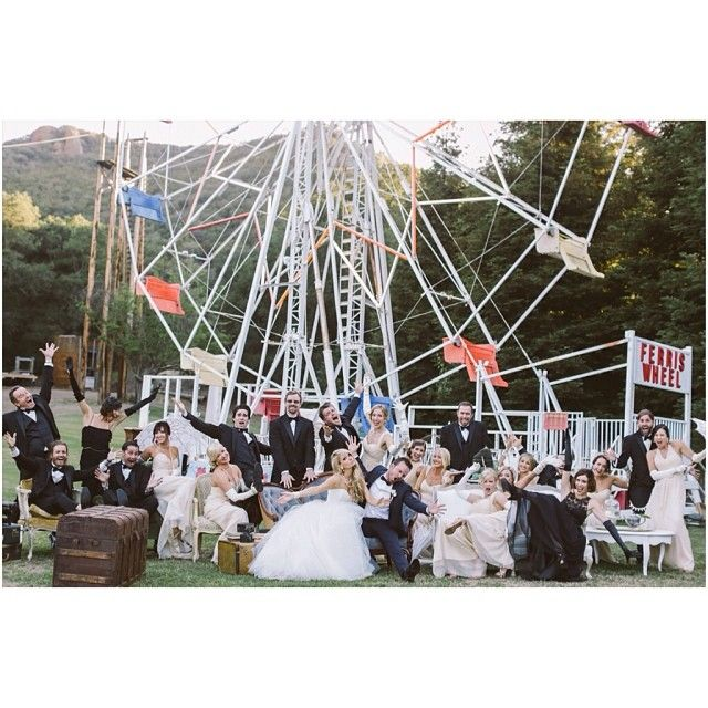 Would love a picture like this - wedding party with vintage furniture. all piled together having fun