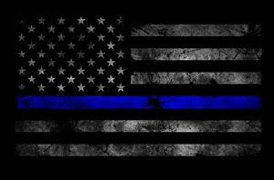 An American flag altered to feature a thin blue line. A similar design on flags flown outside the homes of residents in a Fort Worth neighborhood has sparked conflict between the residents and their HOA. (Mrkoww/WikiCommons Image)
