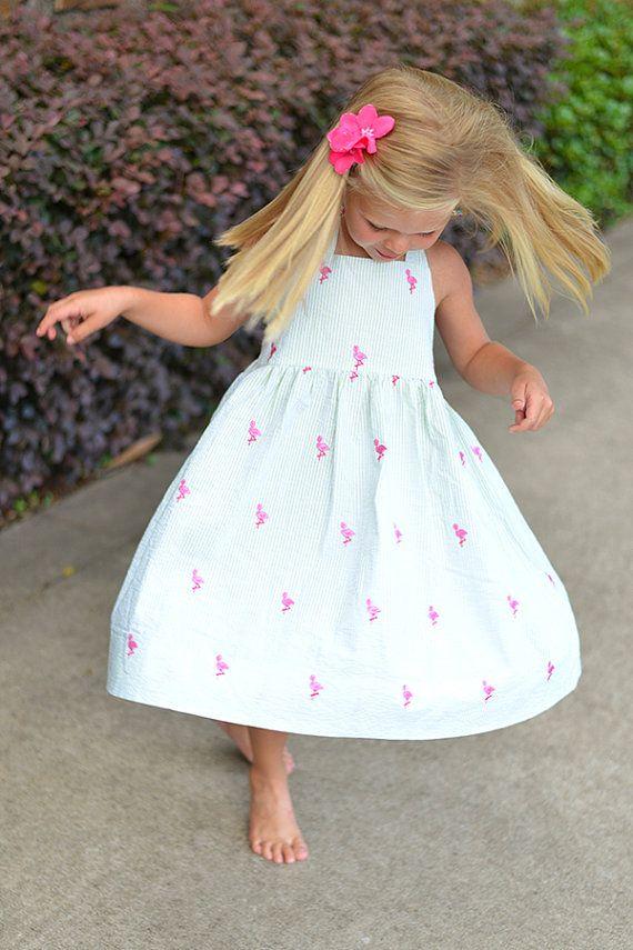 Girls Seersucker Halter Dress w/ Embroidered Pink Flamingos, Girls Sundress, Girls Beach Flamingo Dress