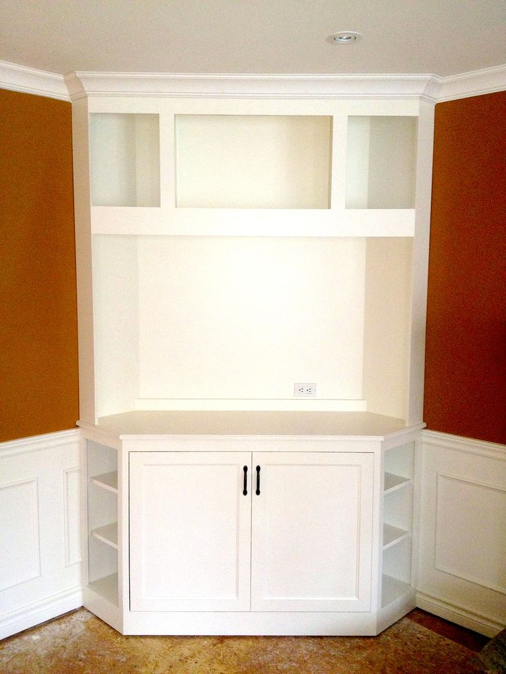 White Corner Television Unit With Upper Display Shelves