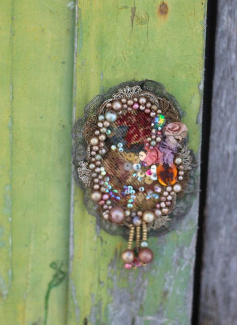 Aubusson embroidered and beaded brooch mixed media by FleursBoheme