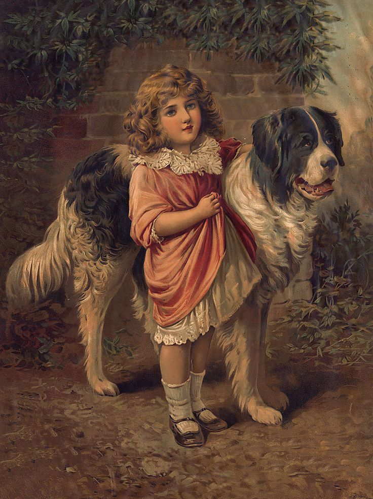 Newfoundland Little Girl And Dog Lovely Old Style Print
