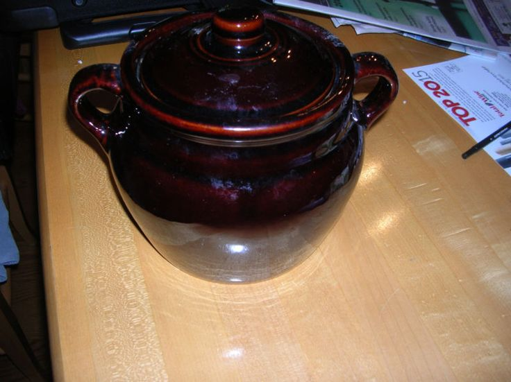 Vintage Stoneware Pottery Brown Glazed Bean Pot With Lid Made In USA
