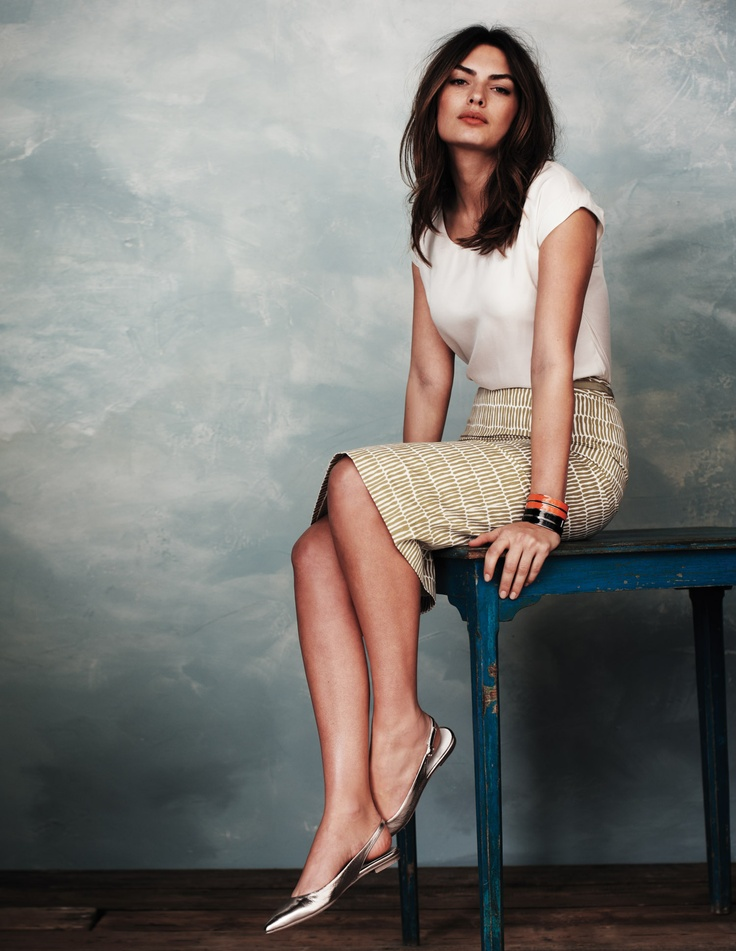 Classic white silk shell , plaid pencil skirt & silver flat pointy slingbacks. ❦ ℒℴvℯ.