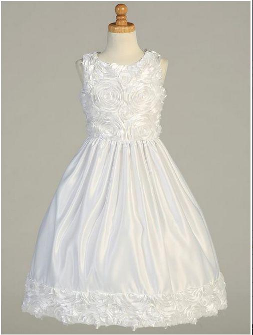 All White Communion Dress Floral Bodice