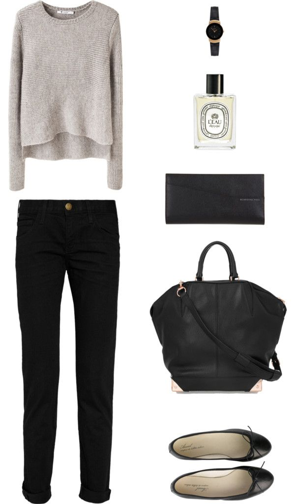 Comfy outfit for going to the market with your SO. Grey (or beige) sweater; black trousers, bag, flats