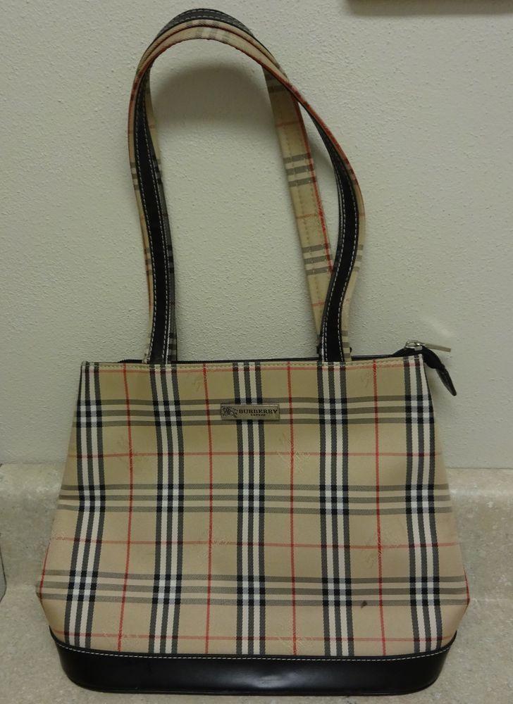 Vintage Burberry Nova Checked Tote Bag Black Leather Trim Burberry Handbags Black Tote Bag Buy Handbags Online