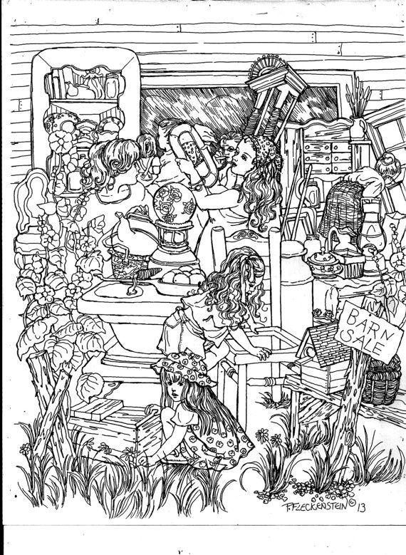 """PAGINA da colorare per adulti e bambini, Instant arte stampabile da stampare e colorare, """"Barn in vendita"""", penna e inchiostro disegno"""