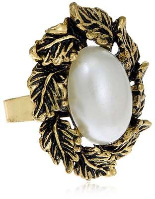 Buy Gold Pearl Ethnic Ring for Women Rs. 675 at Anonymousco