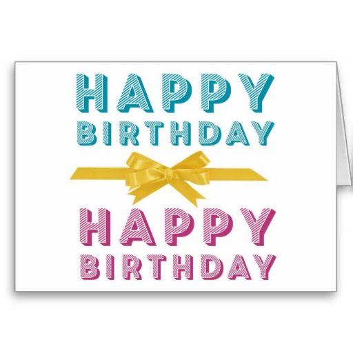 Teal & Pink Happy Birthday Ribbon