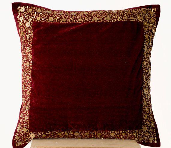 Velvet Throw Pillow Maroon Velvet cushion with gold by AmoreBeaute