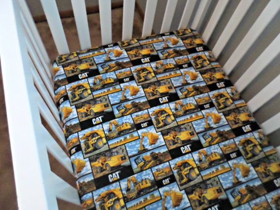 Construction Crib Sheet Cat Bedding Caterpillar Toddler Nursery Baby Shower Dirt Digger