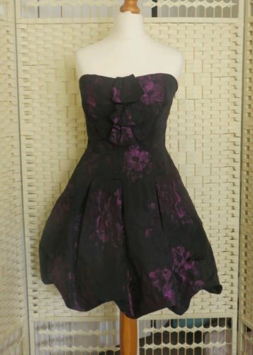 Coast cocktail dress size uk 12 short strapless black purple floral in Clothes, Shoes & Accessories | eBay