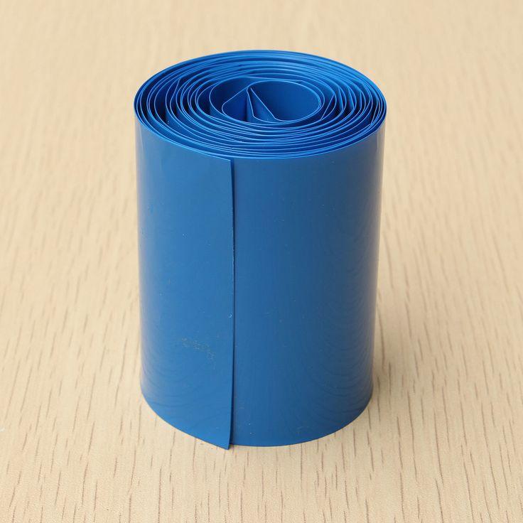 2 Meter 64mm Width PVC Heat Shrink Wrap Tube Blue for AA Battery Pack