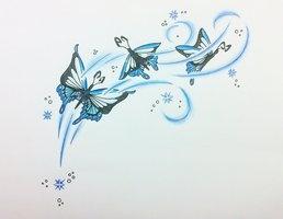 Blue Butterflies Tattoo by ~RAAMC on deviantART