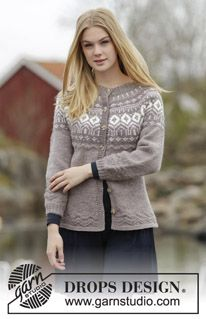 "Knitted DROPS fitted jacket with round yoke, Nordic pattern and purl stitches, worked top down in ""Karisma"". Size: S - XXXL. ~ DROPS Design"