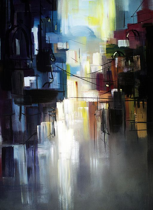 ABSTRACT CITY LANDSCAPE  Painting by Zlatko Misic.