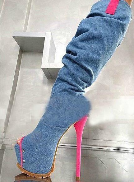 Livraison gratuite haute qualité pour femme bleu à bout ouvert plaltform stiletto cours genou bottes de cow-boy 2014()