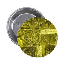 Yellow Green Patchwork Fabric Texture Pinback Button