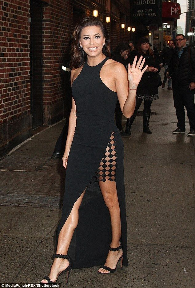 Walk this way! Eva Longoria turned heads once again as she headed to New York's Ed Sullivan Theater for her appearance on The Late Show with Stephen Colbert, on Tuesday