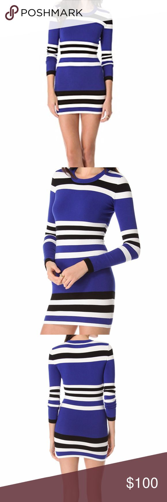 """Torn by Ronny Kobo Blue Striped Dress The """"Cecilia Cruise Stripes"""" dress is from the Torn by Ronny Kobo line and a flirty, formfitting knit trimmed with plush ribbed banding.  I only wore this dress once and it is in perfect condition.  Looks great with a pair of booties and opaque tights!  It is a size small but it fits like a size 2/4 and is made of 78% viscose and 22% spandex. Torn by Ronny Kobo Dresses Long Sleeve"""