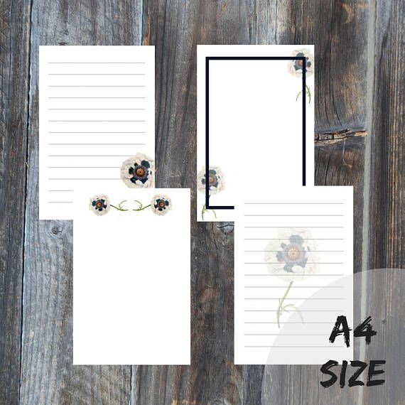 Letter writing set 4 sheets A4 size digital file