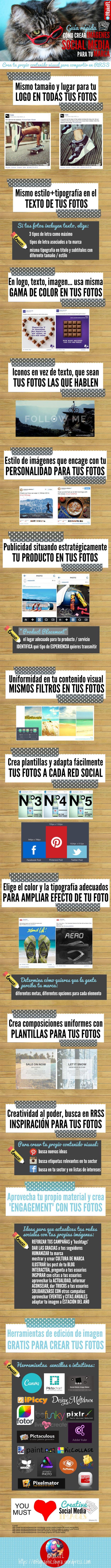 Hola: Una infografía sobre Imágenes social media: guía rápida de contenido visual para tu marca. Vía Un saludo
