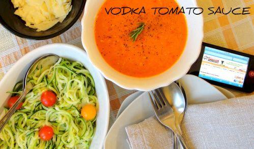 vodka tomato sauce recipe - garlic, onion, butter, olive oil, fresh tomatoes, capsicum, chilli, rosemary, vodka, cream. salt, pepper