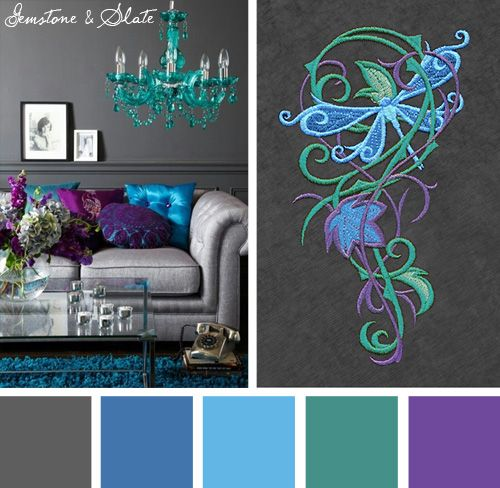 Try this bold and bright Gemstone and Slate color scheme out on your embroidery designs