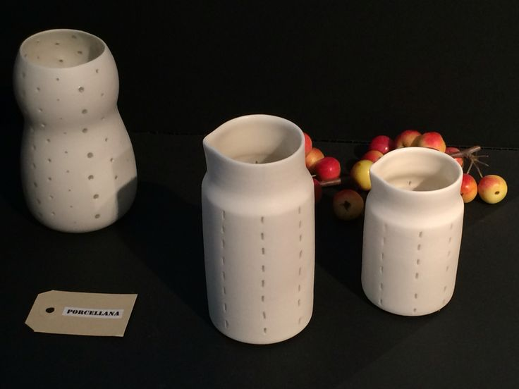 Non-transparency collection. Porcelain handmade on the wheel using rice-grain technique.