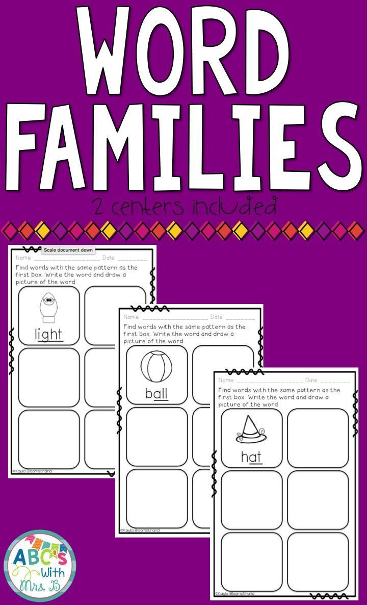 Use these half sheets to reinforce word families! 18 half sheets included in this product. Students will find other words with the similar word families and draw pictures in the boxes. Great for independent literacy centers!