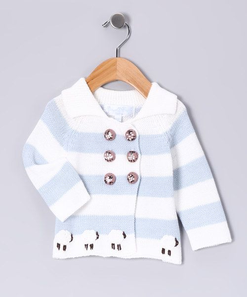 Look at this Blue Stripe Sheep Hand-Knit Cardigan - Infant on #zulily today!